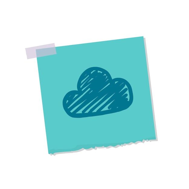 Nuvem, e, tempo, nota, ilustração Vetor grátis