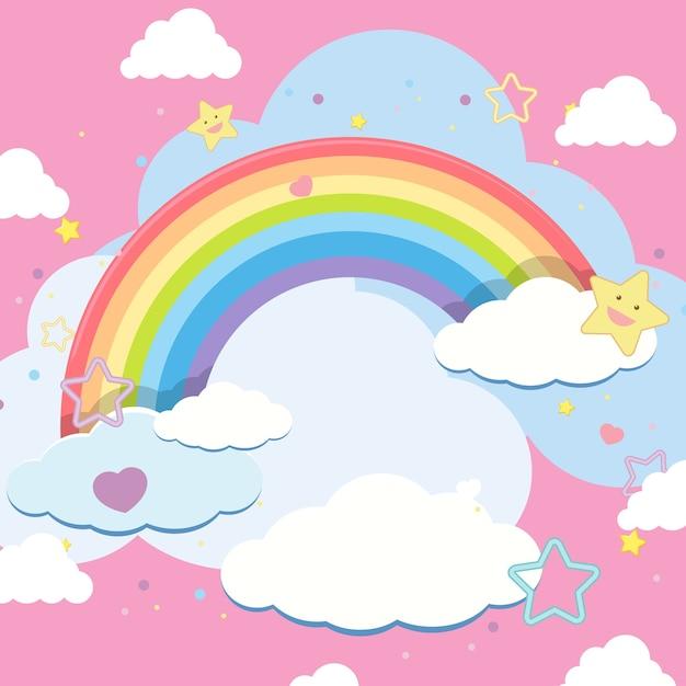 Nuvem em branco com arco-íris no céu em fundo rosa Vetor Premium