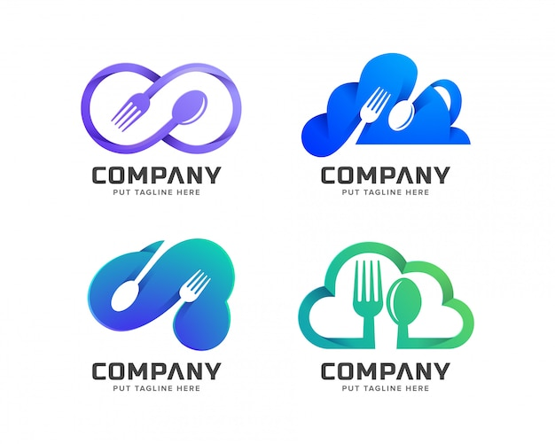 Nuvem restaurante logotipo modelo para empresa Vetor Premium
