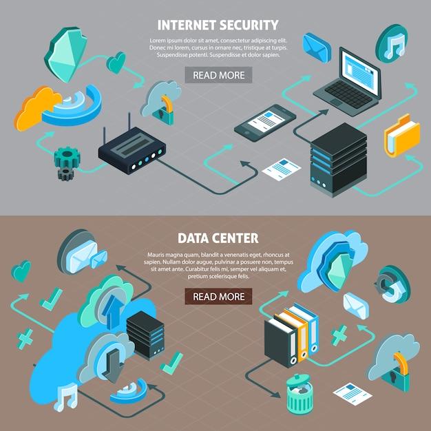 Nuvem serviço tecnologia data center e internet segurança banners horizontais conjunto com fluxograma isométrico 3d isolado ilustração vetorial Vetor grátis