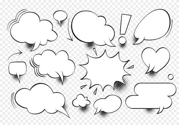 Nuvem vazia de diálogo em quadrinhos, espaço de texto Vetor Premium