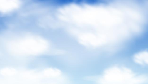 Nuvens azuis em aquarela e fundo do céu Vetor Premium