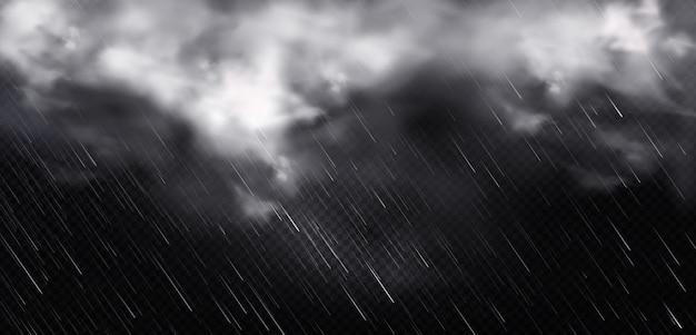 Nuvens brancas, chuva e nevoeiro no céu Vetor grátis