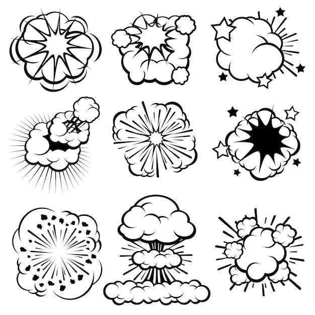 Nuvens de explosão cartoon retrô, conjunto de anéis de fumaça em quadrinhos Vetor Premium