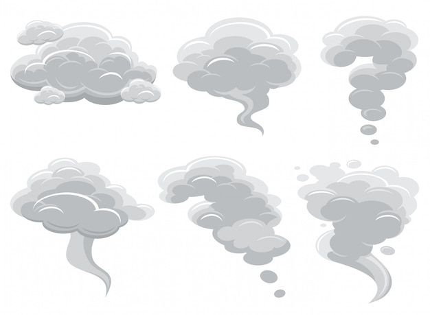 Nuvens de fumar dos desenhos animados e coleção de vetor de nuvem cumulus em quadrinhos Vetor Premium