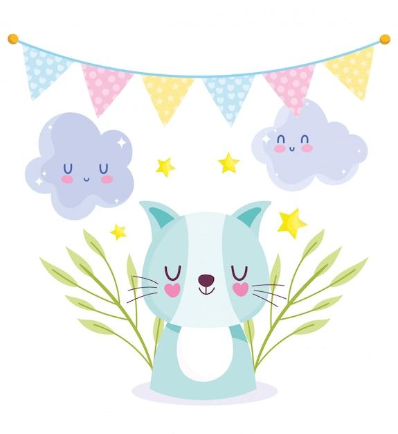 Nuvens de gato de chuveiro de bebê bunting celebração, modelo de convite de boas-vindas Vetor Premium