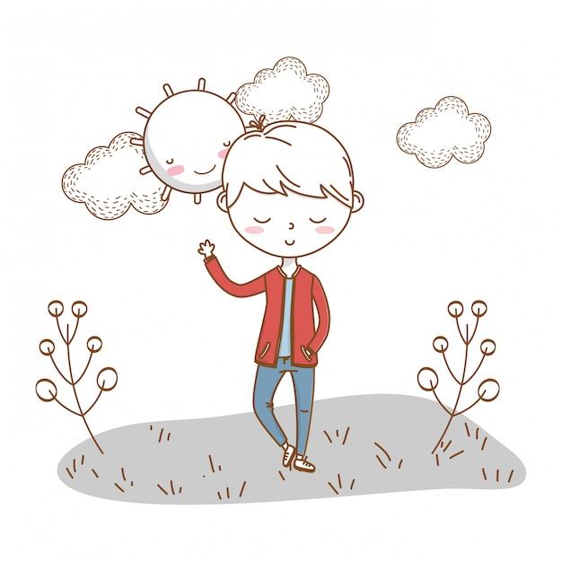 Nuvens de natureza de roupa elegante menino dos desenhos animados Vetor Premium