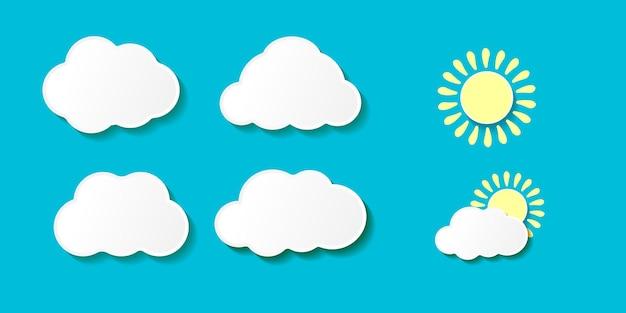 Nuvens de papel de desenho animado com o pôr do sol Vetor Premium