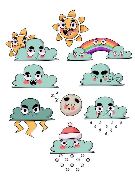 Nuvens de personagem bonito clima, sol, arco-íris e lua Vetor Premium