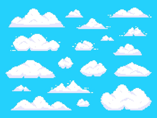 Nuvens de pixel. retro 8 bits céu azul nuvem aérea pixel art fundo ilustração Vetor Premium
