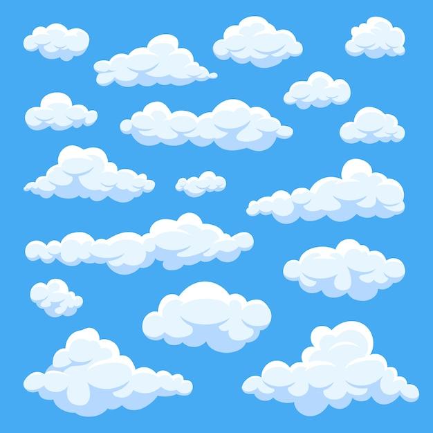 Nuvens dos desenhos animados isoladas na coleção do vetor do panorama do céu azul. cloudscape no céu azul, ilustração nuvem branca Vetor Premium