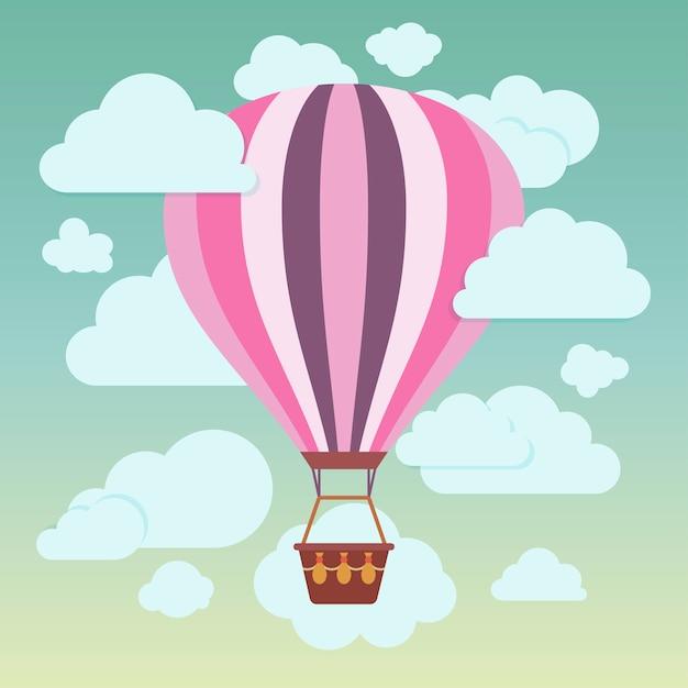 Nuvens e balão de ar quente listrado em um fundo azul Vetor Premium