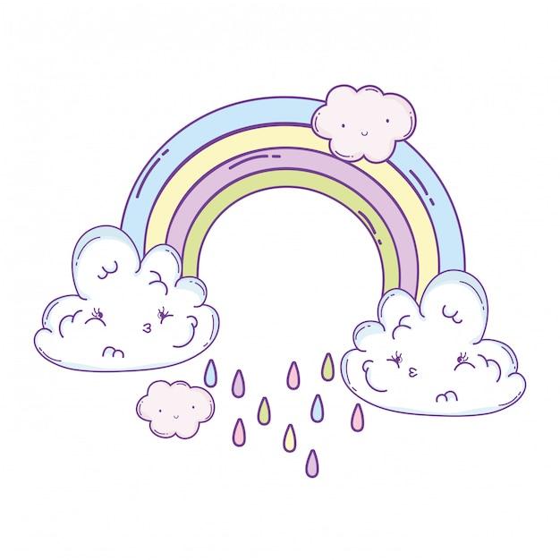 Nuvens e desenhos animados de arco-íris Vetor Premium