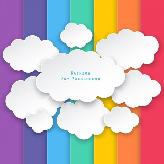 Nuvens em um fundo de barras coloridas Vetor grátis