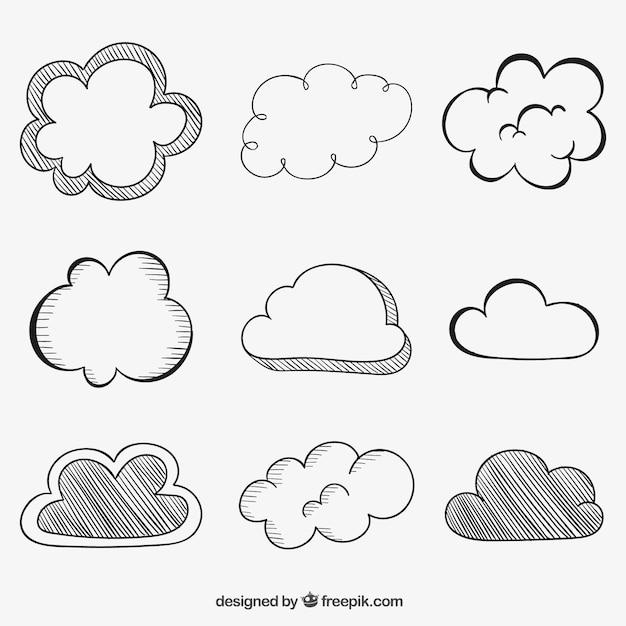 Nuvens esboçado Vetor grátis