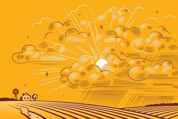 Nuvens sobre campos Vetor Premium