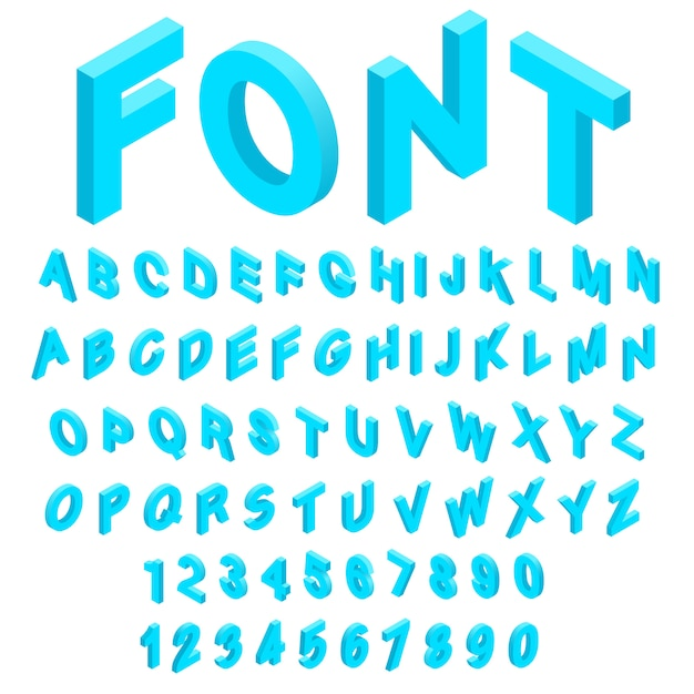 O alfabeto com ícones dos números ajustou-se no estilo 3d isométrico. fonte de inglês definir ilustração vetorial de coleção Vetor Premium
