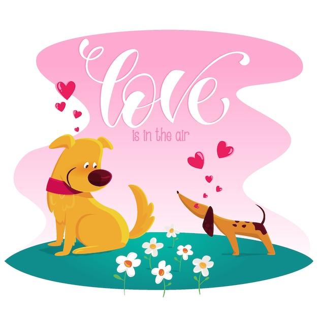 O amor está no ar com cães Vetor grátis