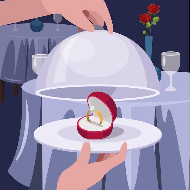 O anel de casamento no prato, restaurantes serve o conceito dos valentineâ € ™ s ilustração lisa do vetor Vetor Premium