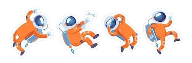 O astronauta com o terno laranja em diferentes poses em gravidade zero. spaceman. cosmonauta. adesivos para crianças. conjunto. Vetor Premium