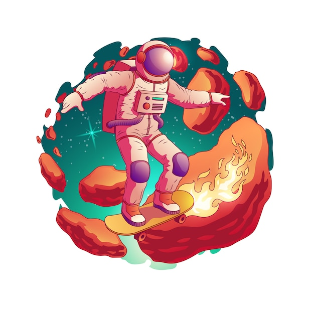 O astronauta no skate da equitação do spacesuit com fogo das rodas nos asteróides circunda no ícone do vetor dos desenhos animados do espaço isolado. futuro adolescente prazer fantástico e divertido conceito Vetor grátis