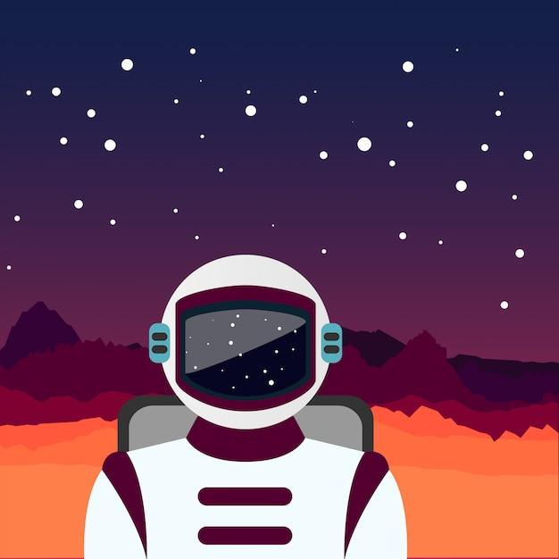 O astronauta perdido Vetor Premium
