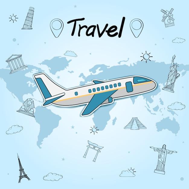 O avião verifica dentro o conceito do curso em todo o mundo no fundo azul. marco mundialmente famoso. Vetor Premium