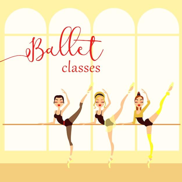 O balé classifica a ilustração do estilo dos desenhos animados. bailarina. escola de dança Vetor Premium