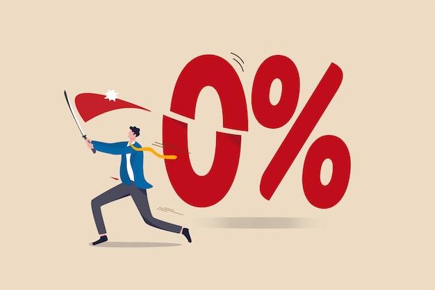 O banco central do governo, o federal reserve, o fed cortaram a taxa de juros para taxas de juros negativas para estímulo econômico no conceito de pandemia de coronavirus, o empresário cortou o número 0 por cento com sua espada. Vetor Premium