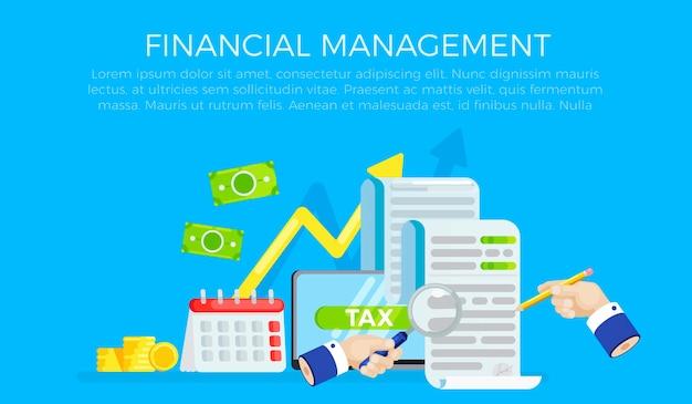 O banner do formulário de imposto. investigação de contas. data do pagamento da dívida. Vetor grátis