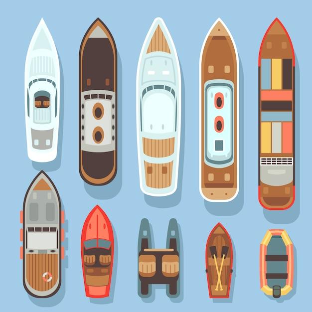O barco da vista aérea e o oceano superiores enviam o grupo do vetor. mar, bote, e, transporte, para, viagem Vetor Premium