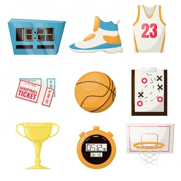 O basquetebol ostenta o equipamento da competição da bola da cesta da bola do jogo. campeonato profissional de atividade de times de lazer. cronômetro, avião de jogo de aro de taça de ouro de sapato de bilhete. Vetor Premium