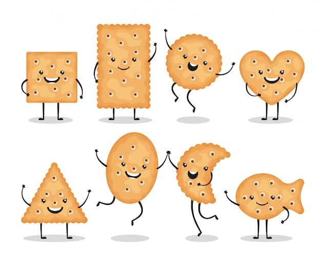 O biscoito de sorriso bonito lasca as formas diferentes isoladas no fundo branco. feliz biscoito cookies caracteres, doodle lanche - ilustração Vetor Premium