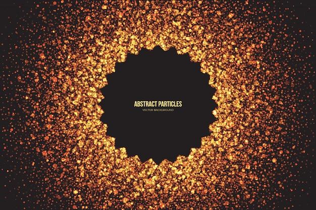 O brilho dourado brilhante abstrato irradia em volta do fundo do vetor das partículas. Vetor Premium