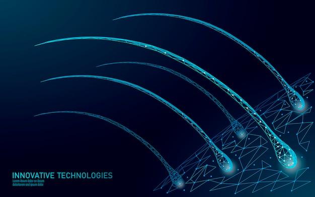 O cabelo protege o conceito de tecnologia 3d cosmética de cuidados. folículos capilares Vetor Premium