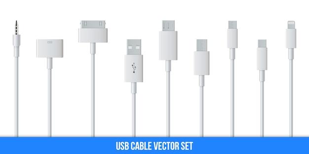 O cabo do plugue de carregamento do usb do telemóvel, smartphone. Vetor Premium