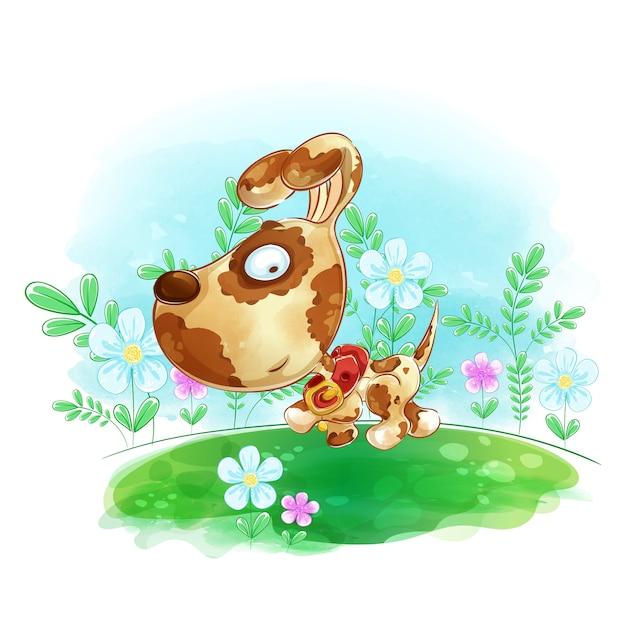 O cão anda no prado com flores. Vetor Premium