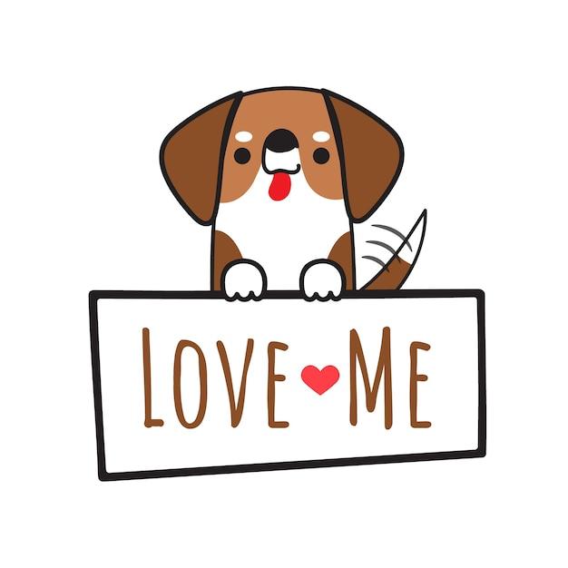 O cão da raposa do vetor do cão que guarda a placa escreve ama-me. Vetor Premium