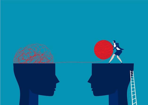 O caos de mentalidade oposta e a ordem no conceito de pensamentos. Vetor Premium