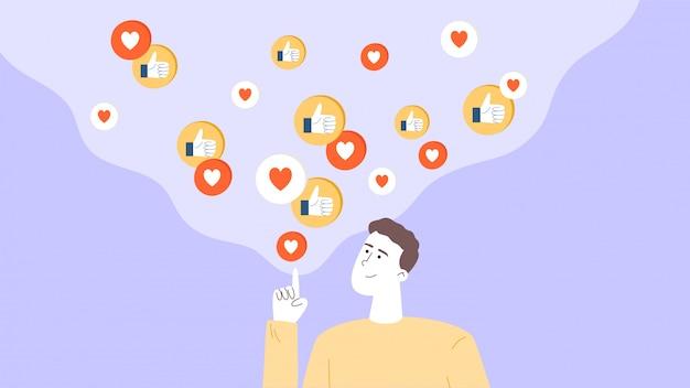 O cara é um influenciador ou gerente de smm, promove um blog nas redes sociais, obtém um bom feedback do público-alvo. Vetor Premium