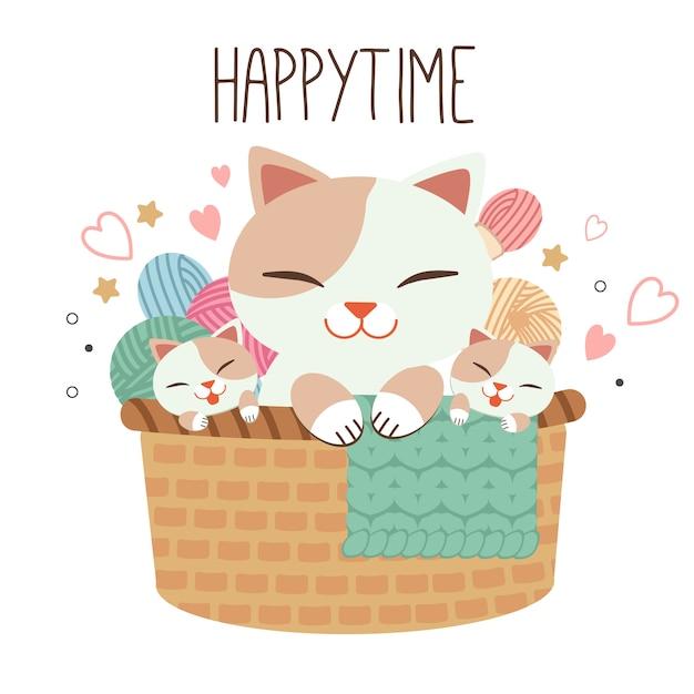 O caráter do gato de família que senta-se na cesta marrom. a cesta tem muitos fios. o gato brincar com um fio. o personagem do gato bonito no estilo de vetor plana. Vetor Premium