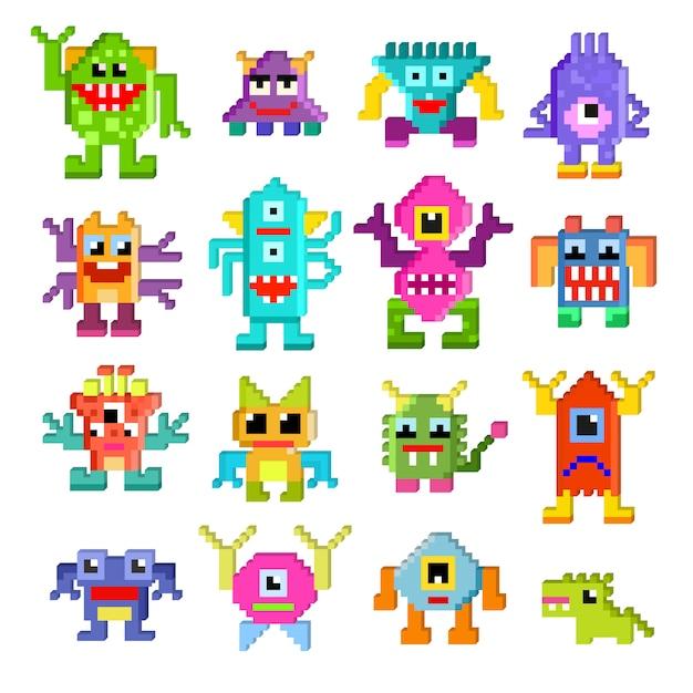 O caráter monstruoso do pixel estrangeiro dos desenhos animados do vetor do monstro da ilustração da monstruosidade e da alienação monstruosamente ajustou-se da criatura pixy alienada bonito no dia das bruxas para as crianças isoladas. Vetor Premium