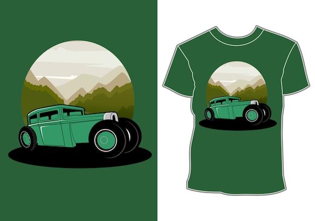 O carro, design de camiseta Vetor Premium