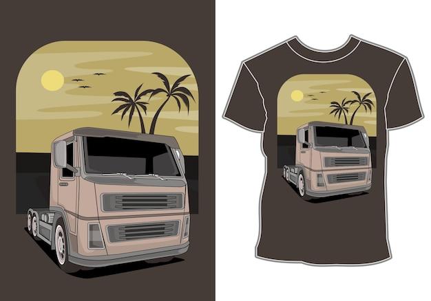 O carro está nas férias de verão na praia, design de t-shirt Vetor Premium