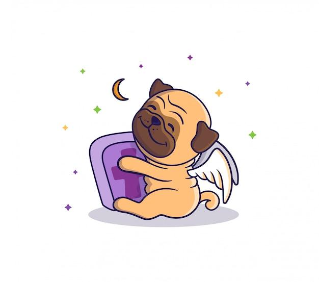 O cartão de halloween é um cão-anjo que abraça um túmulo e está sentado perto da lua e das estrelas. pug fofo, personagem de desenho animado Vetor Premium