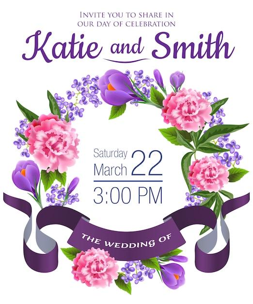 O casamento salvar a data com snowdrops, peônias, grinalda floral e fita violeta. Vetor grátis