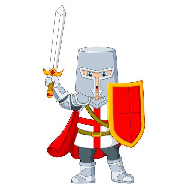 O cavaleiro segurando uma espada Vetor Premium