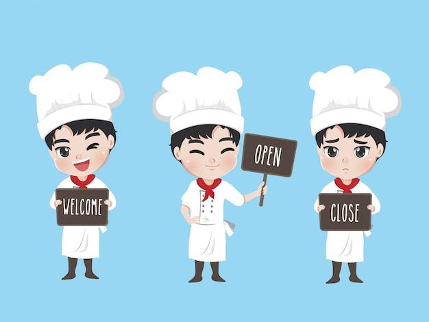O chef segura uma placa na frente da loja, Vetor Premium