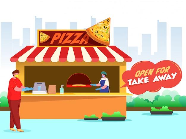 O cliente e os homens compradores usam máscara protetora na pizzaria com o texto da mensagem aberto para levar embora para evitar o coronavirus. Vetor Premium