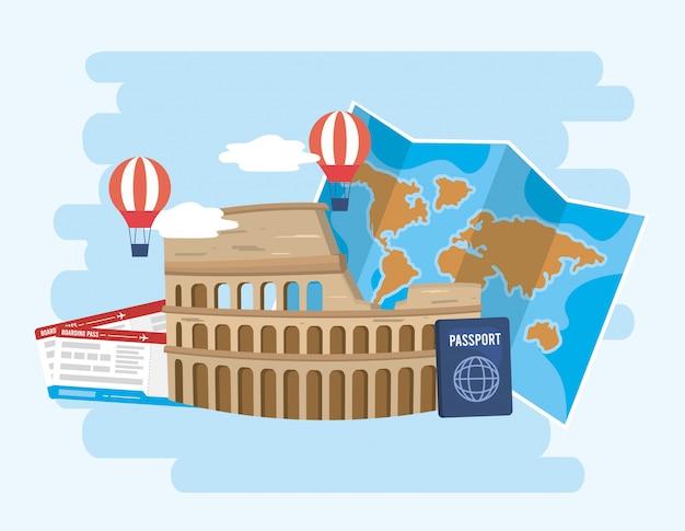 O coliseu com balões de ar e mapa global com passaporte Vetor Premium